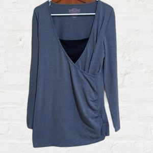 MATERNITY Surplice long sleeve ruched tunic